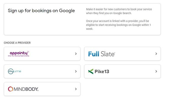 Google My Business Booking