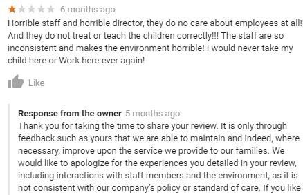 Negative Review Response Example