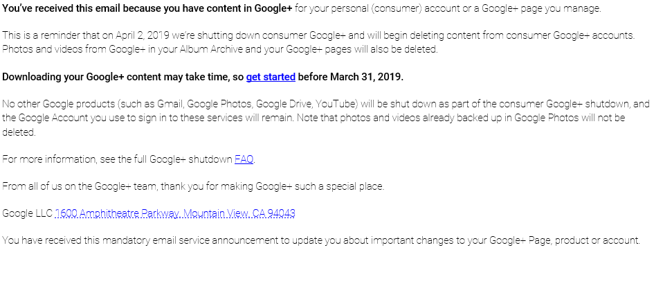 Google+ Shutdown Email