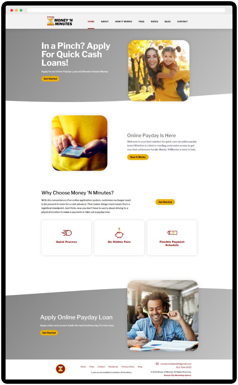 Money N Minutes Payday Website Designs