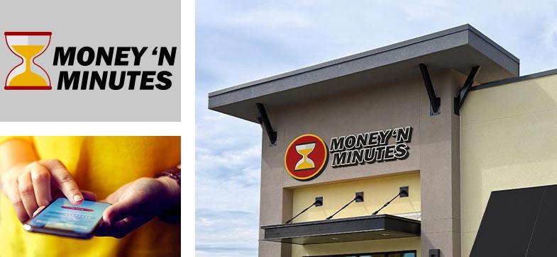 Money N Minutes Large Scale Exterior Signage Custom Logo Design