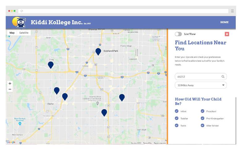 Kids Education Website Custom Development Locations